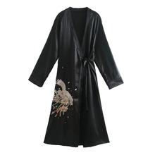 欧美外贸月月2021春季女装新款民族风宽松刺绣和服式休闲长款外衣