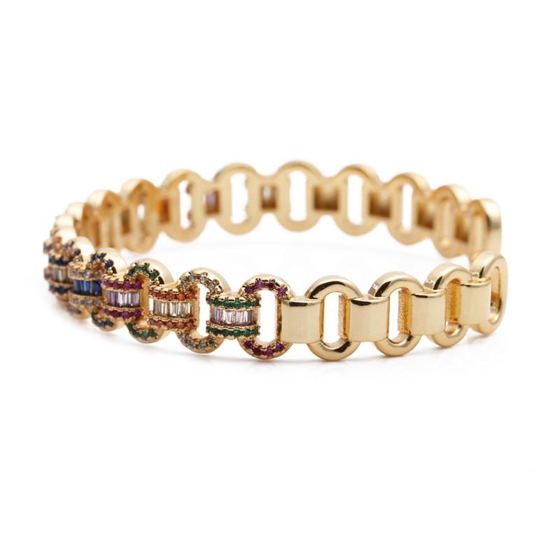 Fashion Color Open Bracelet Yh Copper Micro Inlaid Zircon Opening Adjustable Bracelet