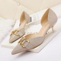 8008-3 in Europe and the sexy pointed shallow mouth high-heeled shoes web celebrity show thin thin with hollow out heel shoes women's shoes