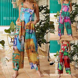 A large amount of stock 2021 ladies fashion ethnic style patchwork printed button jumpsuit bib trousers