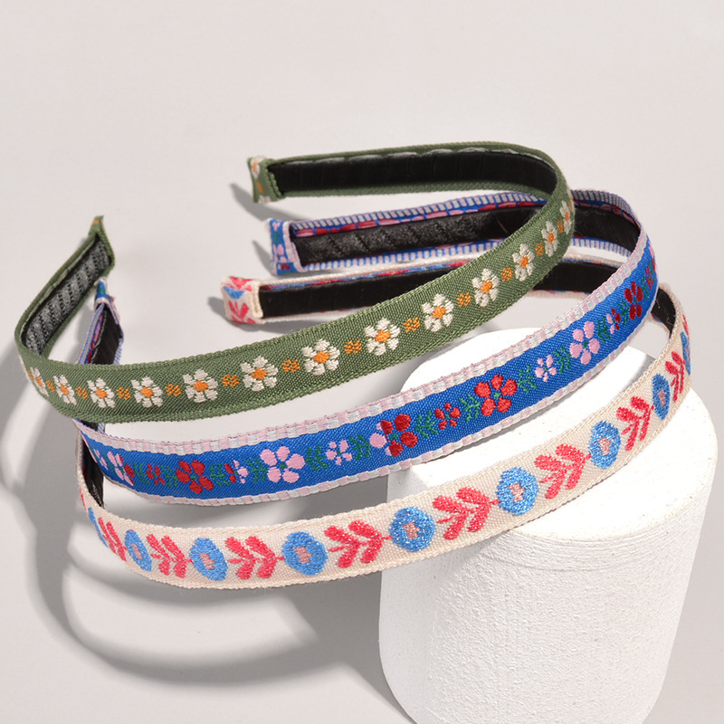 Korean embroidery flower headband  NHWB332766