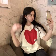 针织衫女爱心宽松韩版白色短袖毛衣上衣2021年春季新款内搭打底衫