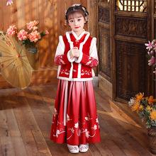 女童漢服紅色拜年服冬裝中國風古裝冬加厚兒童過年喜慶衣服唐裝女