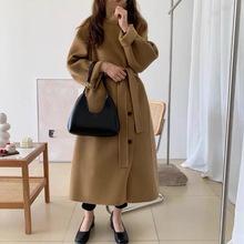 2021冬新款韩国东大门双面羊绒大衣女中长款宽松过膝羊毛呢外套潮