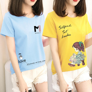 【40 models available】2021 summer new short-sleeved t-shirt women loose Korean version of foreign trade ins women's round neck bottoming shirt