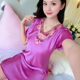 女性性感睡衣女士睡裙女夏冰丝夏天丝绸短袖蕾丝女式夏季薄款新款