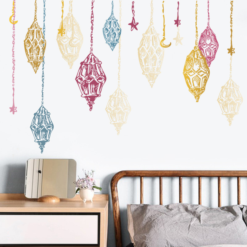Fashion crescent chandelier wall stickers wholesale NHAF337016