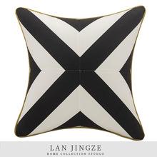 北欧现代简约黑白条纹拼抱枕沙发办公室靠垫床头靠背汽车靠垫批发