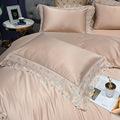 欧式轻奢蕾丝四件套高档纯棉刺绣真丝被套全棉1.8m床笠款床上用品