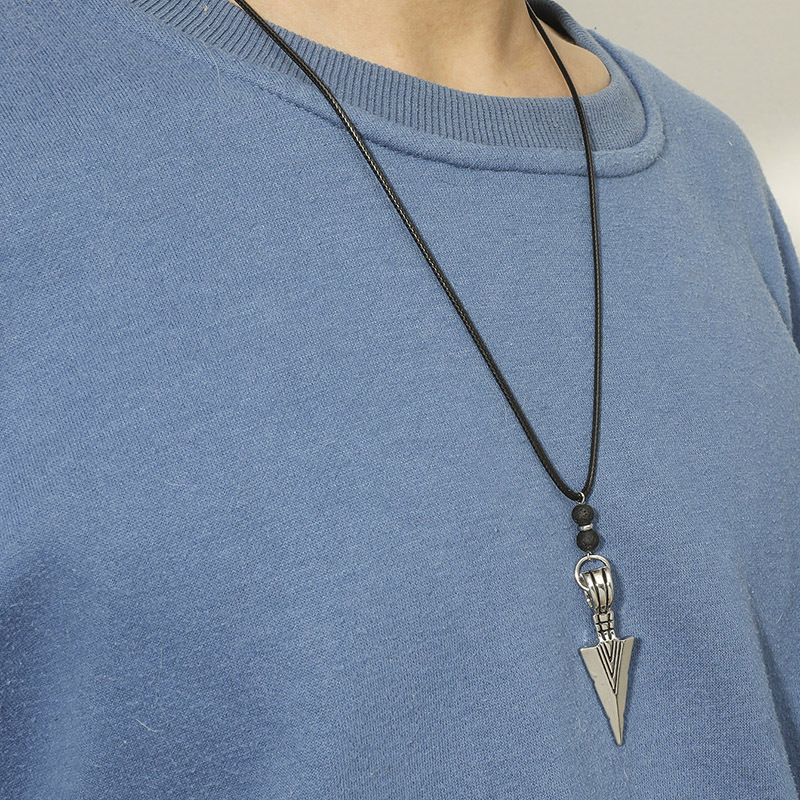 Casting Spearhead Pendant Wax Leather Rope Necklace  NHACH329455