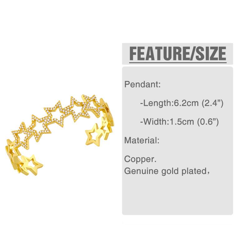 Fashion C Copper Micro-inlaid Zircon Geometric Hollow Bracelet