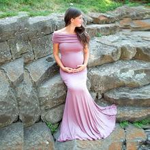 2020年歐美女裝日本棉孕婦反領短袖拖尾連衣長裙攝影連衣裙1147