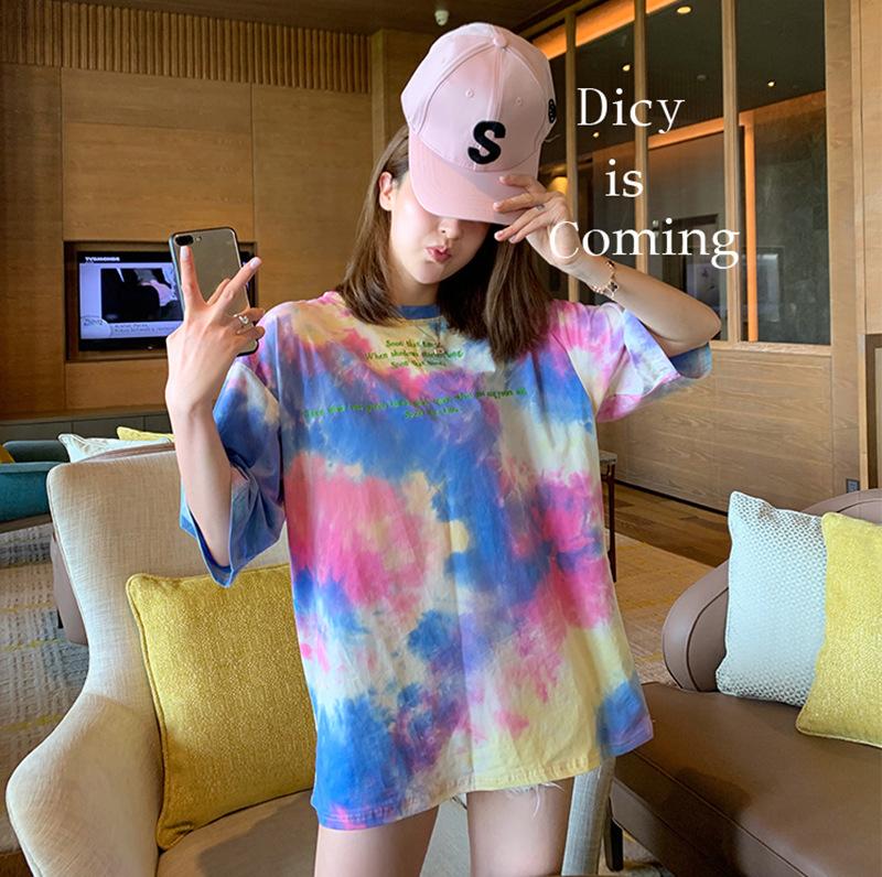 跨境宽松扎染T恤日系短袖2021春夏新款时尚中长款圆领上女衣跨境