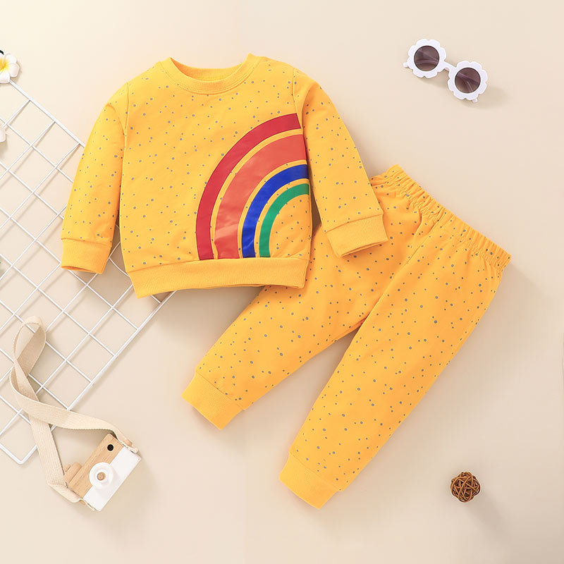 fashion rainbow printing childrens pullover longsleeved tops pants twopiece suit wholesale nihaojewelry NHSSF430233