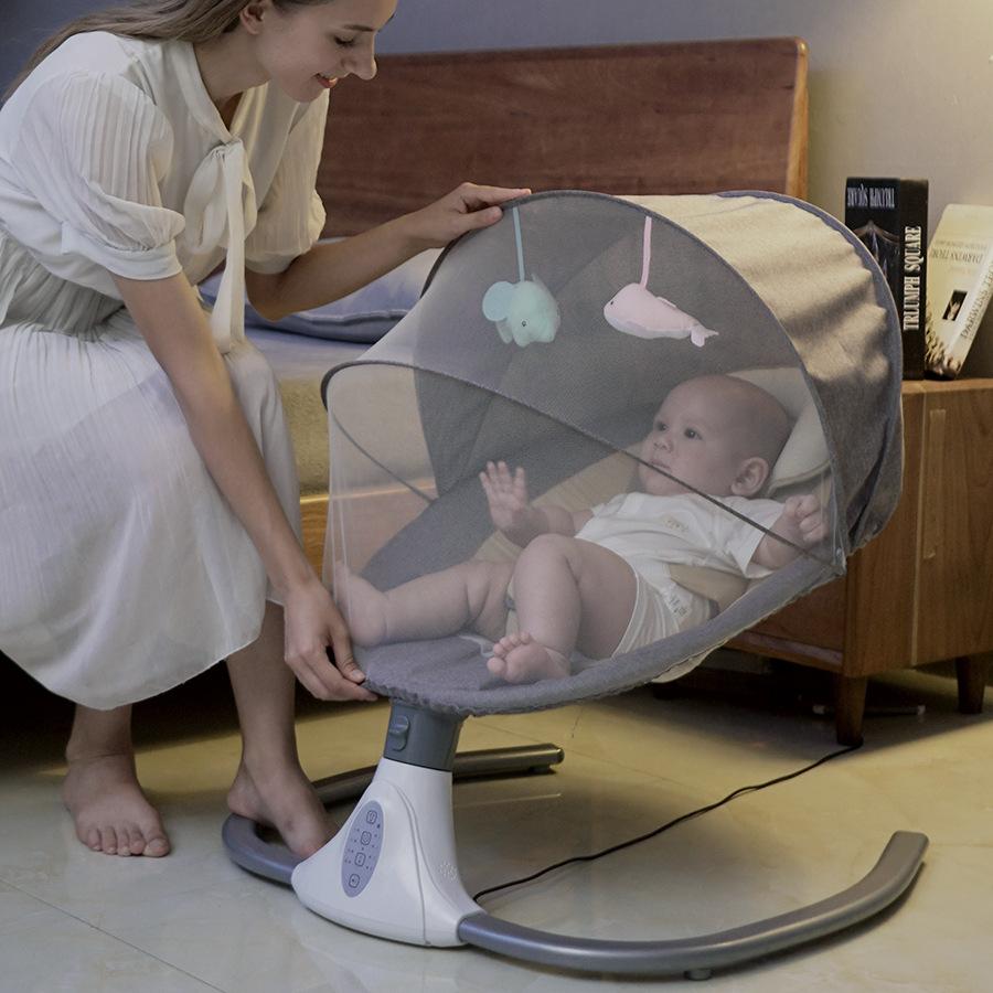 婴儿电动摇椅摇床源头厂家直供跨境摇篮哄娃睡新生儿安抚椅婴儿床