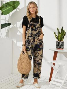 Plenty of spot 2021 summer new style retro butterfly print button pocket sleeveless casual jumpsuit