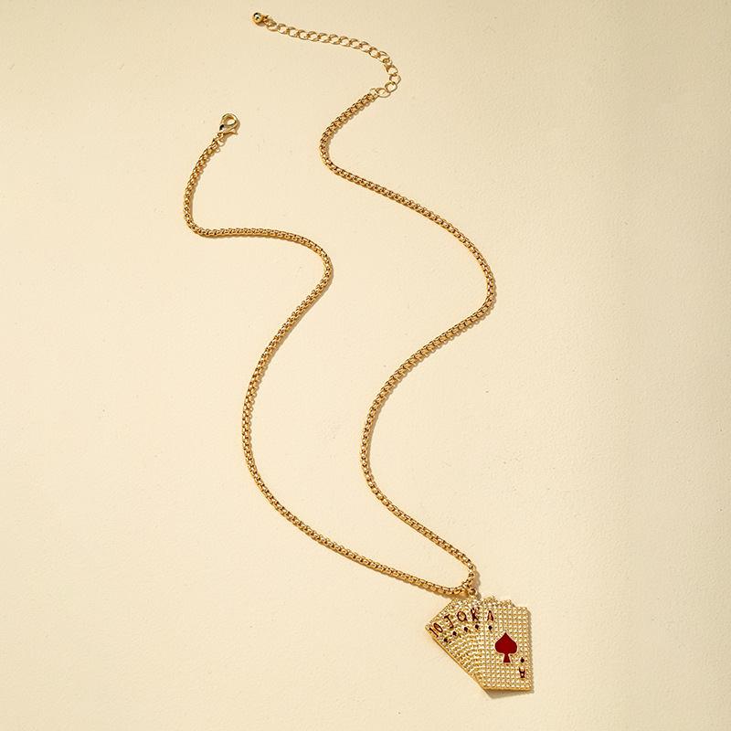 fashion playing cards necklace earrings set NHQJ308143
