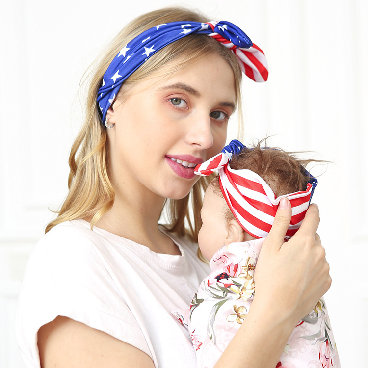 American Independence Day mother child rabbit ears stripes blue stars knotted hair band NHWO344010