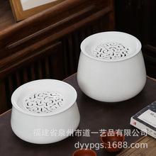 家用白瓷黑陶盘面可镂空雕刻定制建水过滤茶渣缸茶洗