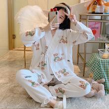 小熊夏季薄款日系和服纱布纯棉月子家居服睡衣拉链产后哺乳孕妇