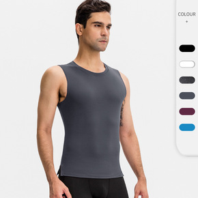 Black red blue Men's ballroom latin dance fitness vest Tight training crew neck High-stretch quick-drying sports running tops for male