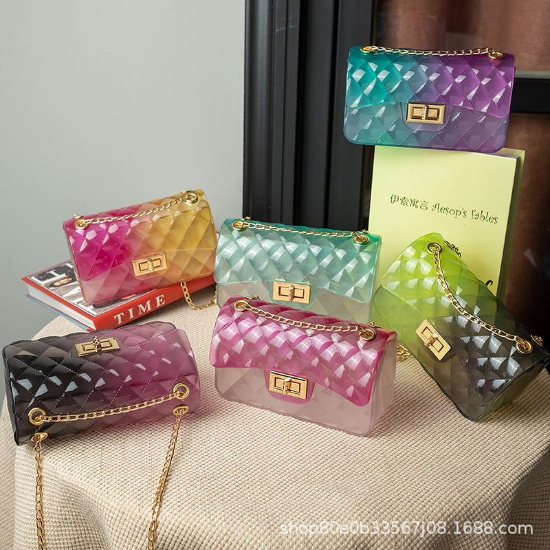 Colorful transparent jelly bag Jelly bag...