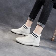 短靴女真皮2020平底孕妇防滑短筒针织单靴头层牛皮及踝靴马丁靴女