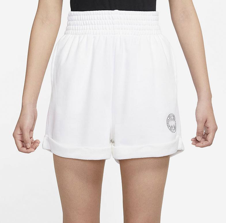 2021新款女子毛圈棉卷边反折刺绣小标训练健身休闲运动短裤CZ8227