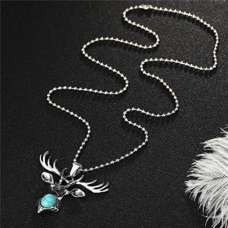 Fashion pony green turquoise deer head animal alloy necklace  NHGO348170