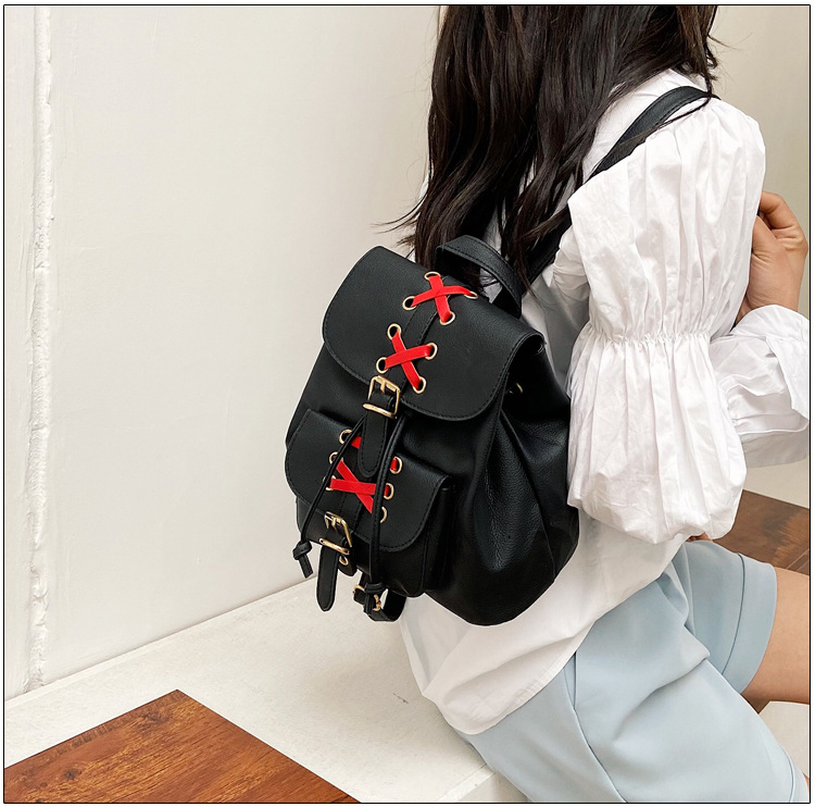 Womens soft backpacks street fashion shopping travel bags NHRU337419