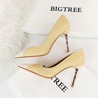 869-8 party in Europe and America for women's shoes with high heels with thin metal with lighter color matching point sexy women's shoes