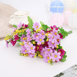 Factory wholesale Nordic floral small daisy, jumping orchid, chrysanthemum, silk flower, small fresh living room display artificial flowers