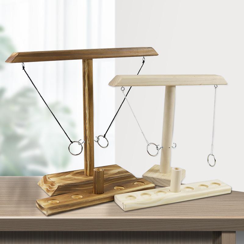 Ring toss Game亚马逊爆款投环挂钩游戏双人桌游木制质抛环玩具