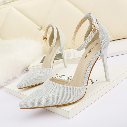 200-23 han edition fashionable light pointed mouth high-heeled shoes sexy show thin one word with sandals web celebrity professional OL for women's shoes