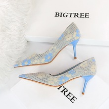 869-A9 han edition show thin thin and delicate high-heeled shallow mouth pointed lace glitter mesh cloth single women high heels shoes