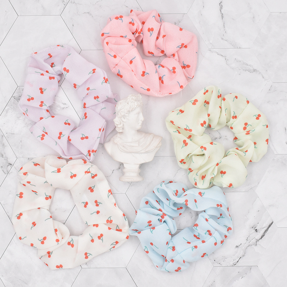 Korean style Cute Little Cherry Fruit Fabric Folds Childrens Hair Rope  NHCL367418