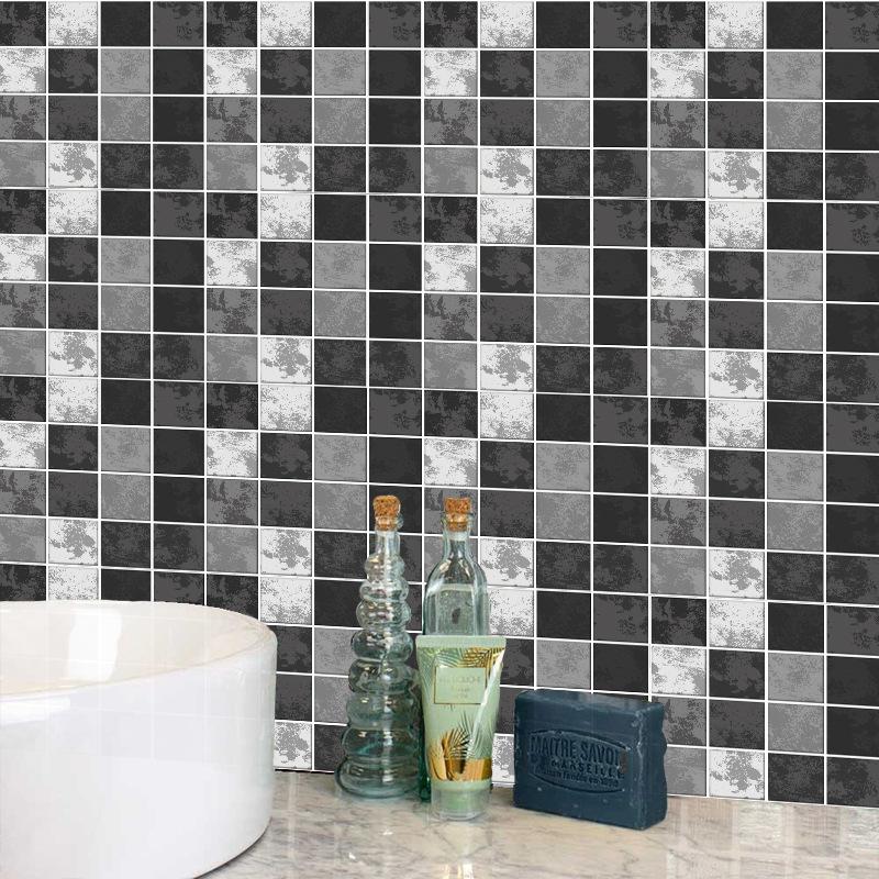 fashion contrast color black grey lattice tile wall stickers NHAF366757
