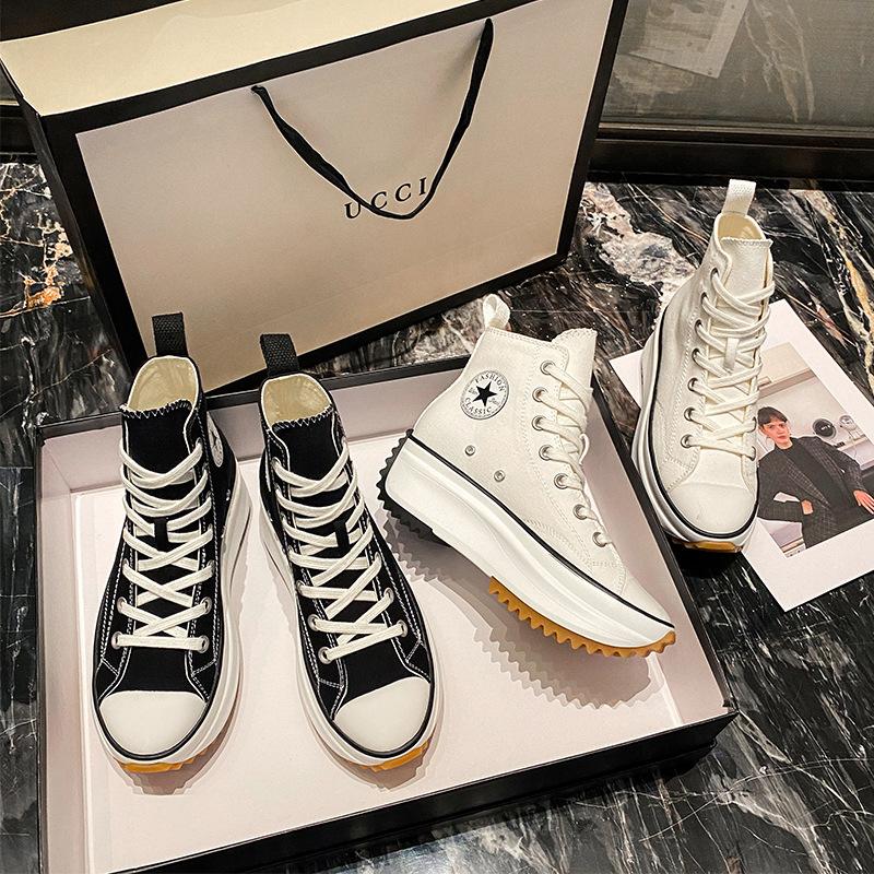 春季2021新款小白鞋韩版透气松糕百搭高帮帆布鞋女厚底内增高鞋