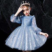 春夏长袖蓝色网纱蕾丝女童公主裙 厂家批发短款蓬蓬纱儿童连衣裙