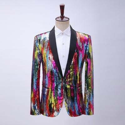 Men's colorful rainbow vertical sequins solo dress suit Birdegroom photos shooting blazers hair man suit for man singers jazz Dance nightclub bar host coats