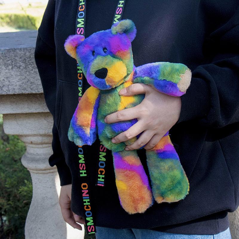 一件代发五彩熊兔子彩虹色系公仔热卖玩偶PV绒抓娃娃机毛绒玩具