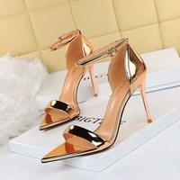 528-1 the European and American wind fine summer fashion sexy party high-heeled shoes with high heels peep-toe pointed one word with sandals