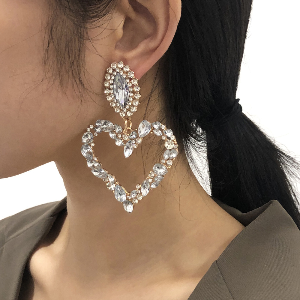 exaggerated heart fashion earrings NHMD277289