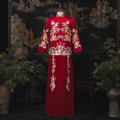 Men's Chinese wedding dresses Groom Chinese traditional Wedding party xiuhe tang suit Dress for male Men's toast clothing  bridegroom wedding dress