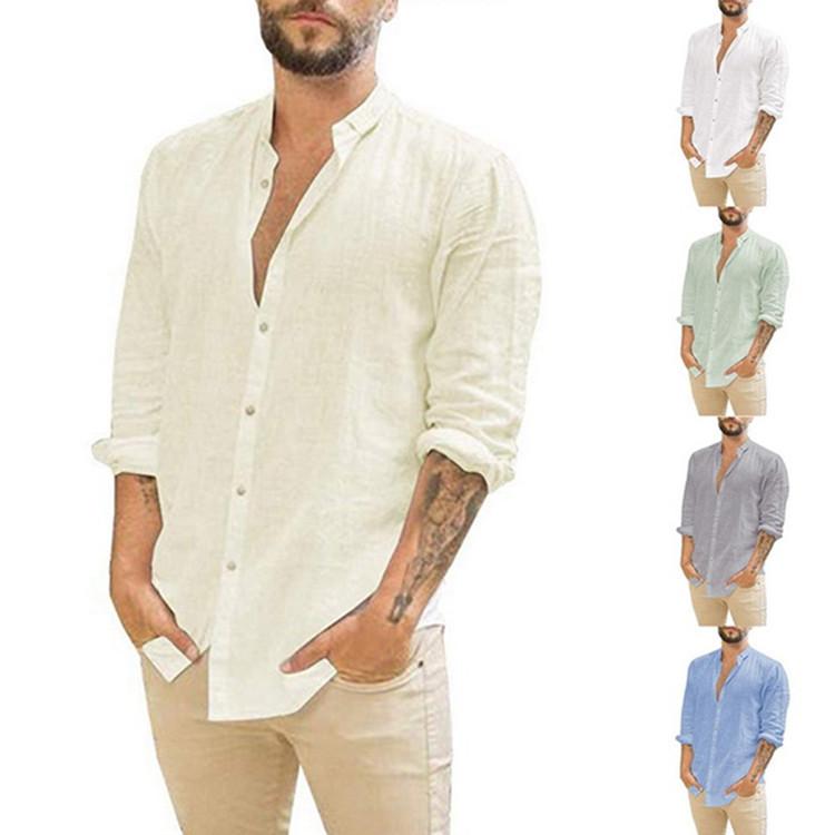 2021亚马逊wish速卖通欧美男士新品亚麻开衫纯色休闲立领长袖衬衫