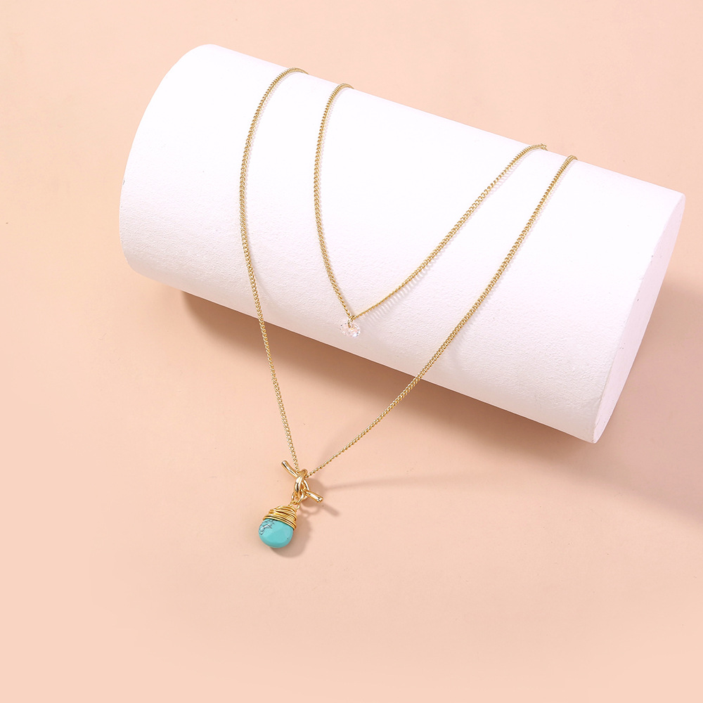 simple turquoise water drop multilayer necklace NHAN335093