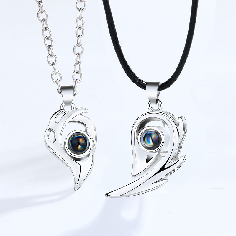 Couple necklace, a pair of heart-shaped...