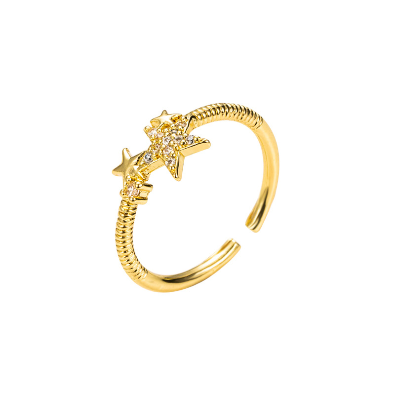 fashion cat star copper zircon ring  NHLN336997