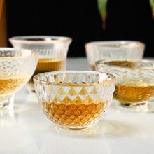 功夫茶具耐热玻璃工艺品锤目纹杯日式花纹功夫茶杯小酒杯子定制