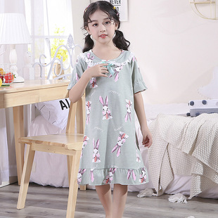 Girls' nightdress short-sleeved summer children's pajamas Korean version of the princess baby little girl parent-child mother and daughter home service cotton